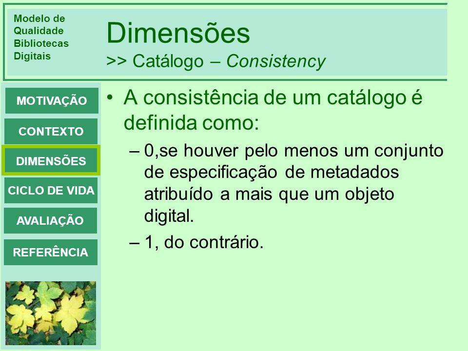 Modelo de Qualidade Bibliotecas Digitais DIMENSÕES CONTEXTO MOTIVAÇÃO CICLO DE VIDA AVALIAÇÃO REFERÊNCIA Dimensões >> Catálogo – Consistency A consist