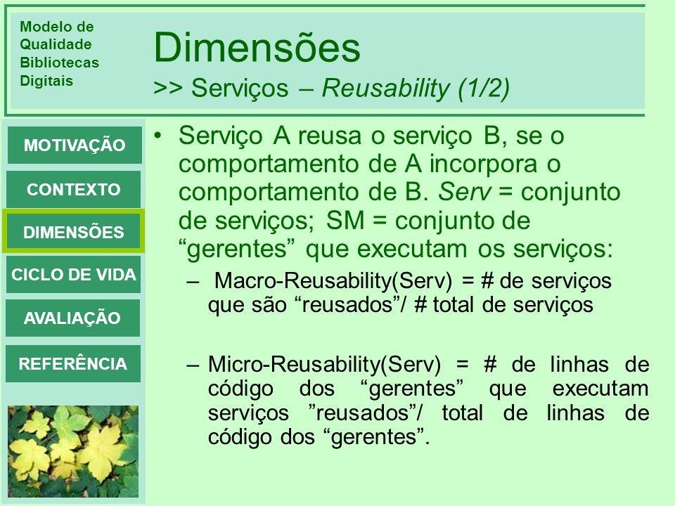 Modelo de Qualidade Bibliotecas Digitais DIMENSÕES CONTEXTO MOTIVAÇÃO CICLO DE VIDA AVALIAÇÃO REFERÊNCIA Dimensões >> Serviços – Reusability (1/2) Ser