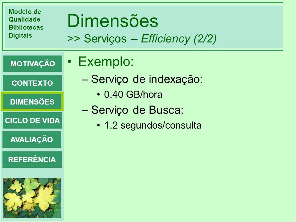 Modelo de Qualidade Bibliotecas Digitais DIMENSÕES CONTEXTO MOTIVAÇÃO CICLO DE VIDA AVALIAÇÃO REFERÊNCIA Dimensões >> Serviços – Efficiency (2/2) Exem