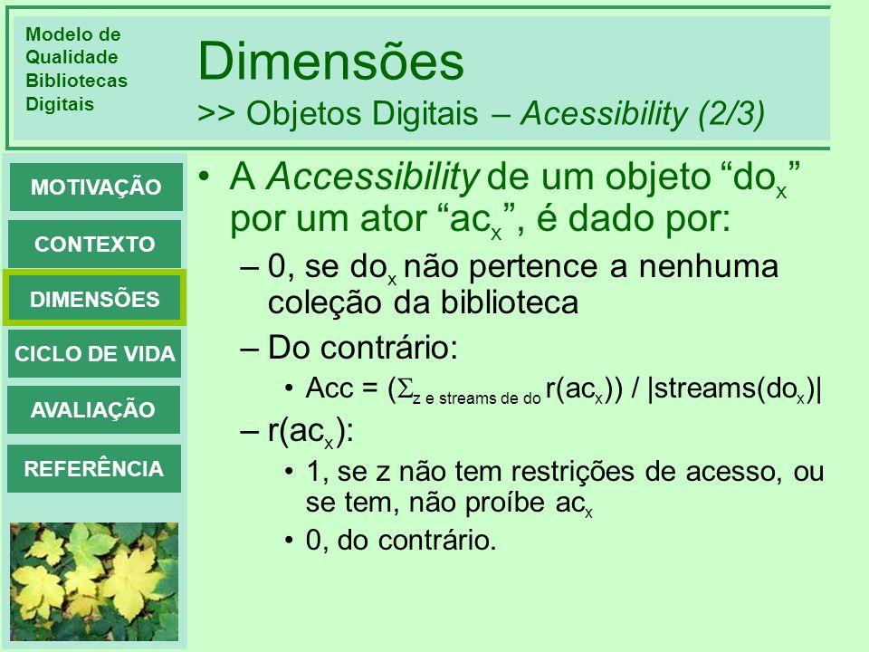 Modelo de Qualidade Bibliotecas Digitais DIMENSÕES CONTEXTO MOTIVAÇÃO CICLO DE VIDA AVALIAÇÃO REFERÊNCIA Dimensões >> Objetos Digitais – Acessibility (3/3) Exemplo: Virginia Techs ETD: LetterUnrestrictedRestrictedMixedAcessibility for users not in VT A164505Mix(0.5,0.5,0.167, 0.1875,0.6) Unrestricted: acessibilidade = 1, para todos Restricted: acessibilidade = 1 para VTcm, e 0 para fora de VTcm Mixed: exemplo: 5 dos 6 capítulos(streams) do 3o documento misto são disponíveis só para VTcm.
