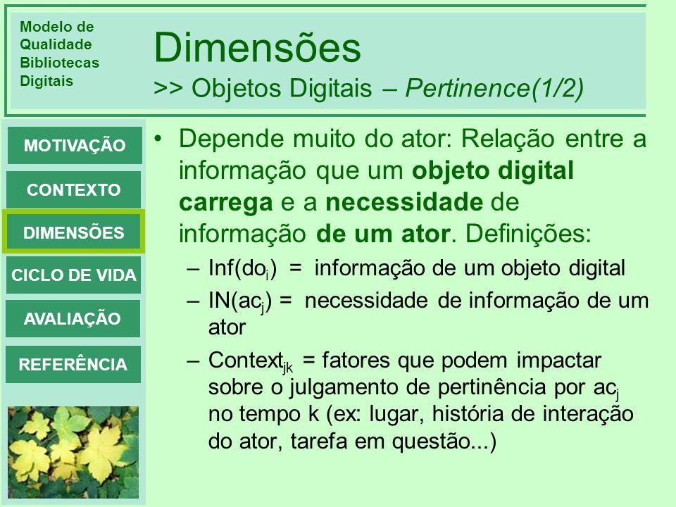 Modelo de Qualidade Bibliotecas Digitais DIMENSÕES CONTEXTO MOTIVAÇÃO CICLO DE VIDA AVALIAÇÃO REFERÊNCIA Dimensões >> Objetos Digitais – Pertinence(2/2) Pertinence(do i, ac j ): Inf(do i ) IN(ac j ) Context jk Definida como: –1, se Inf(do i ) é julgada como informativa, em relação a IN(ac j ) no contexto Context jk ; –0, de outra forma Muito subjetiva.