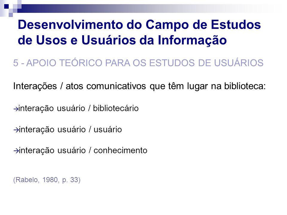 5 - APOIO TEÓRICO PARA OS ESTUDOS DE USUÁRIOS Interações / atos comunicativos que têm lugar na biblioteca: interação usuário / bibliotecário interação