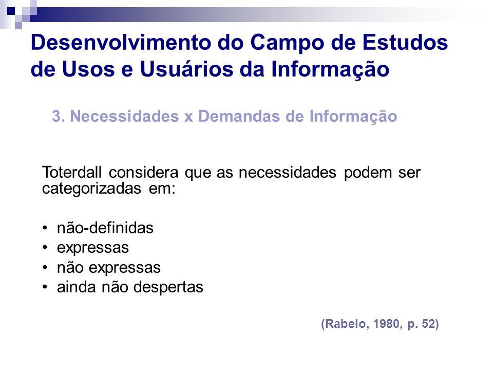 3. Necessidades x Demandas de Informação Toterdall considera que as necessidades podem ser categorizadas em: não-definidas expressas não expressas ain