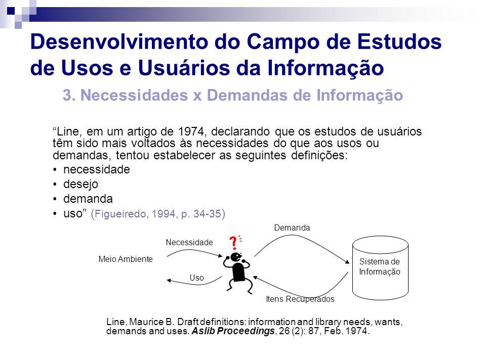 Sistema de Informação Demanda Itens Recuperados Necessidade Uso Meio Ambiente 3. Necessidades x Demandas de Informação Line, em um artigo de 1974, dec