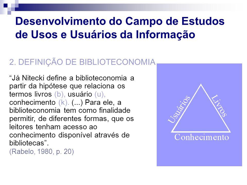 Já Nitecki define a biblioteconomia a partir da hipótese que relaciona os termos livros (b), usuário (u), conhecimento (k). (...) Para ele, a bibliote