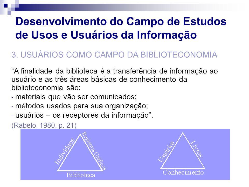 3. USUÁRIOS COMO CAMPO DA BIBLIOTECONOMIA A finalidade da biblioteca é a transferência de informação ao usuário e as três áreas básicas de conheciment
