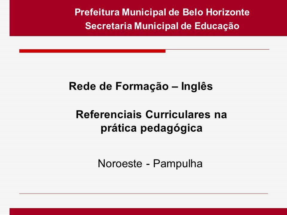 Prefeitura Municipal de Belo Horizonte Secretaria Municipal de Educação Rede de Formação – Inglês Referenciais Curriculares na prática pedagógica Noro