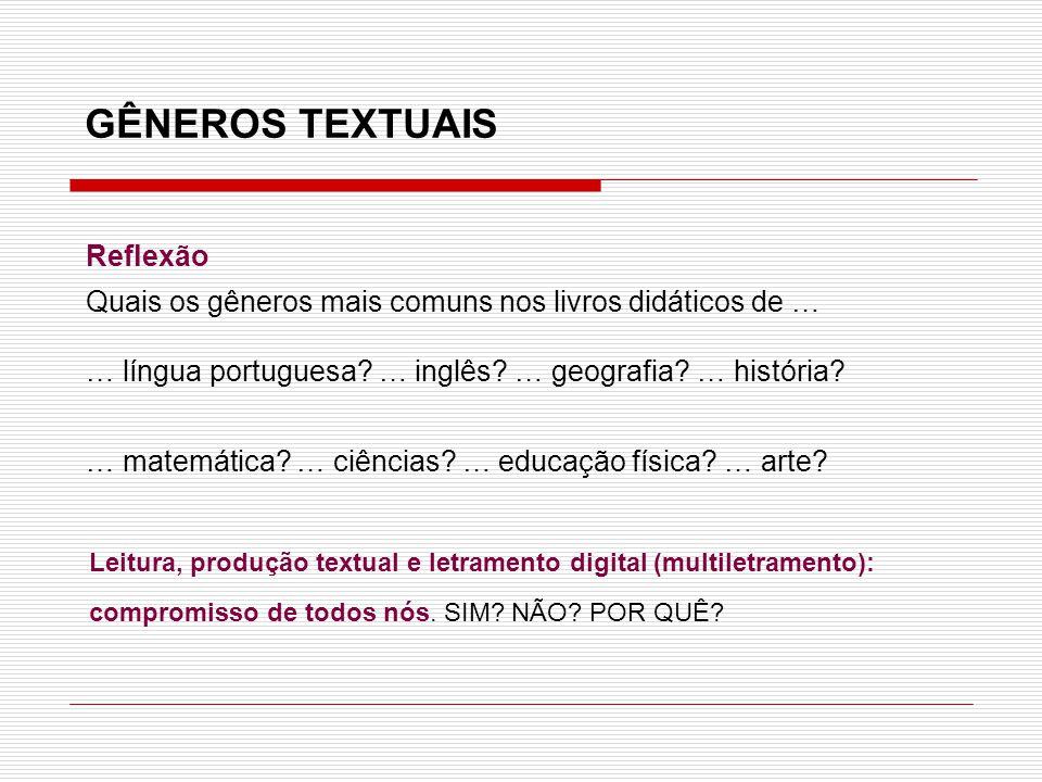 Reflexão Quais os gêneros mais comuns nos livros didáticos de … … língua portuguesa? … inglês? … geografia? … história? … matemática? … ciências? … ed