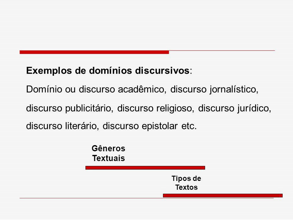 Exemplos de domínios discursivos: Domínio ou discurso acadêmico, discurso jornalístico, discurso publicitário, discurso religioso, discurso jurídico,