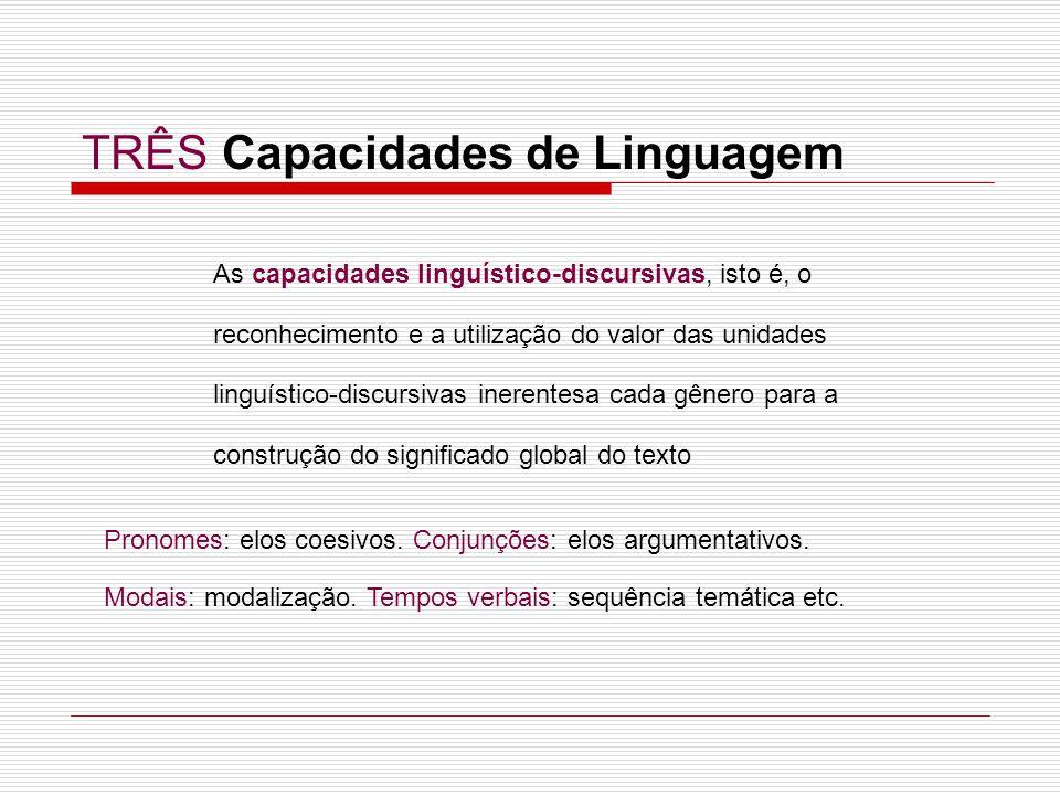 As capacidades linguístico-discursivas, isto é, o reconhecimento e a utilização do valor das unidades linguístico-discursivas inerentesa cada gênero p