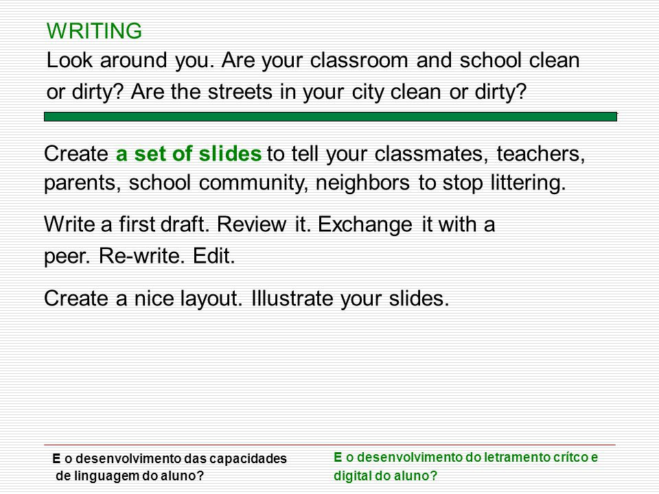 Create a set of slides to tell your classmates, teachers, parents, school community, neighbors to stop littering. Write a first draft. Review it. Exch