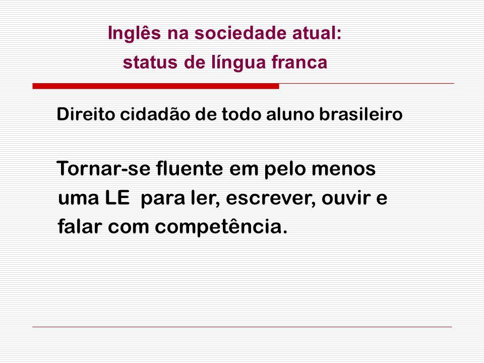 Direito cidadão de todo aluno brasileiro Tornar-se fluente em pelo menos uma LE para ler, escrever, ouvir e falar com competência. Inglês na sociedade