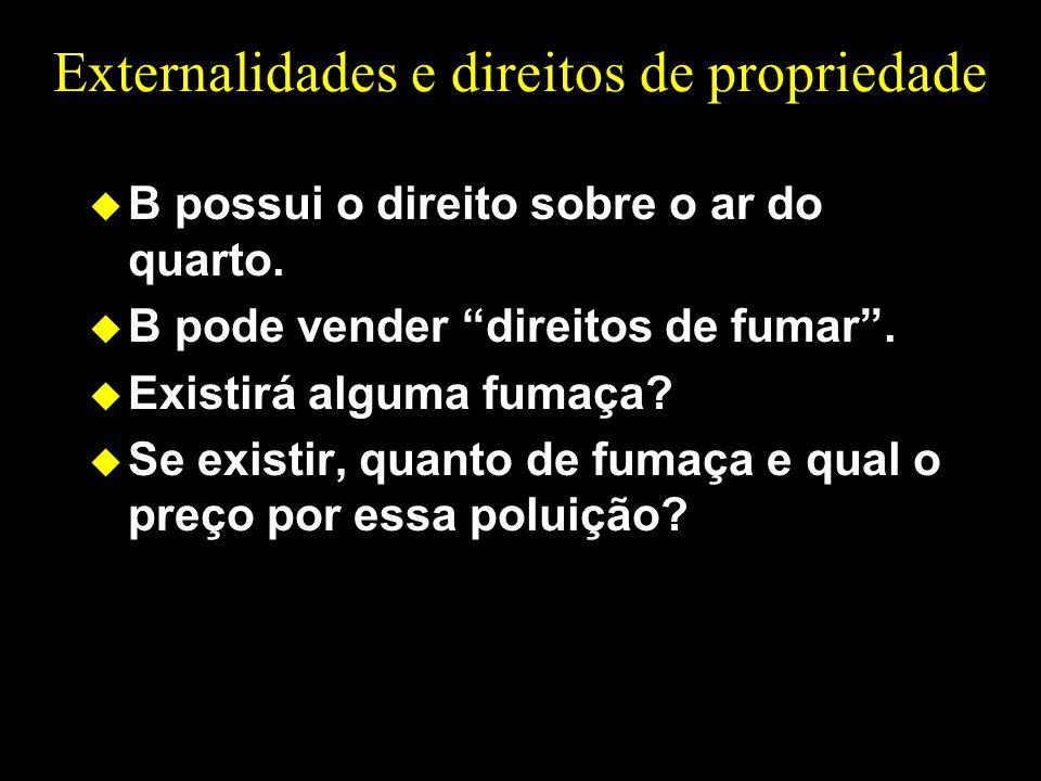Externalidades e direitos de propriedade u B possui o direito sobre o ar do quarto. u B pode vender direitos de fumar. u Existirá alguma fumaça? u Se