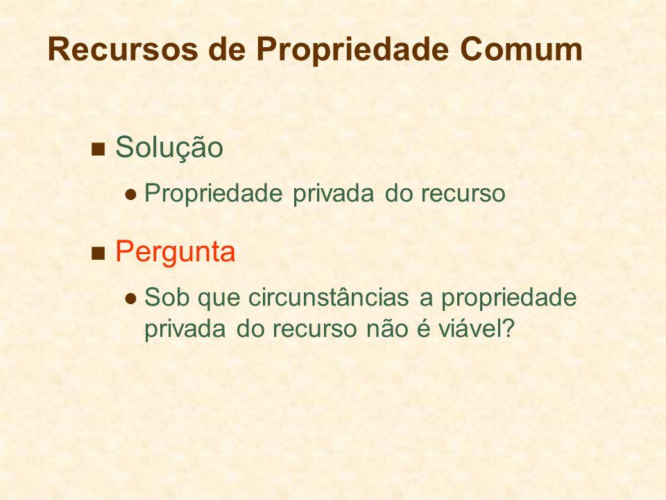 Recursos de Propriedade Comum Solução Propriedade privada do recurso Pergunta Sob que circunstâncias a propriedade privada do recurso não é viável?