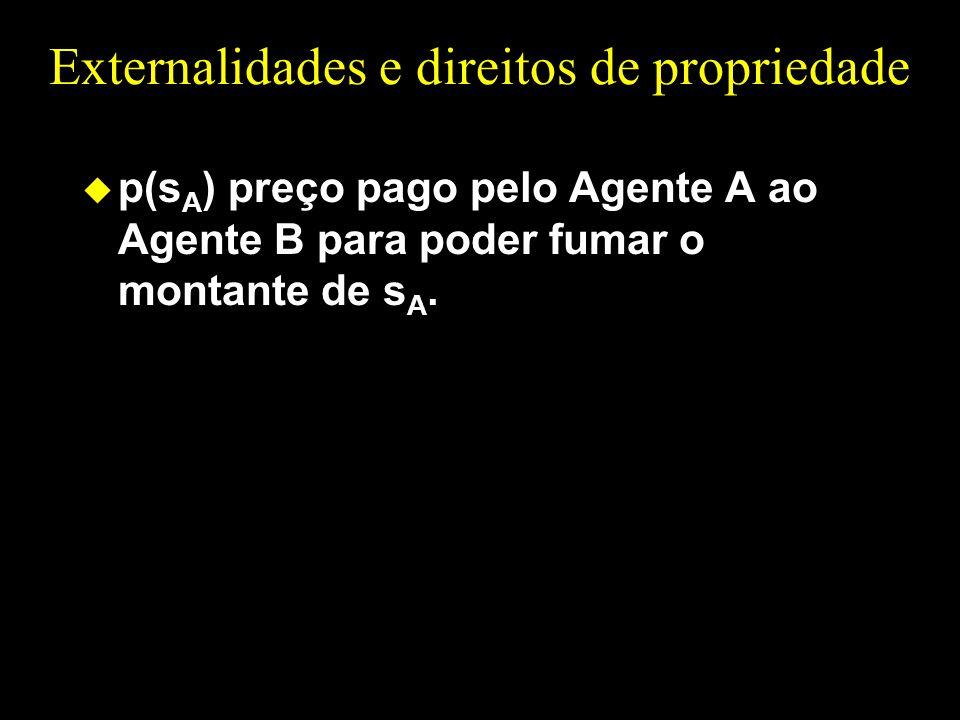 Externalidades e direitos de propriedade u p(s A ) preço pago pelo Agente A ao Agente B para poder fumar o montante de s A.