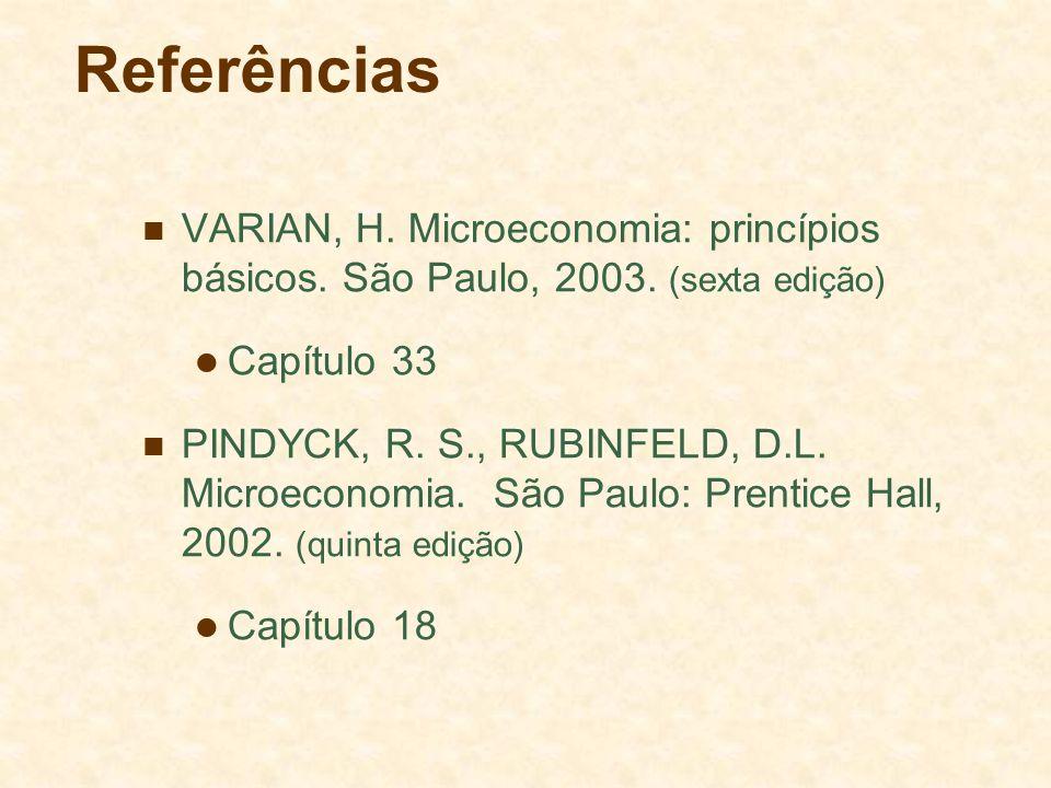 Referências VARIAN, H. Microeconomia: princípios básicos. São Paulo, 2003. (sexta edição) Capítulo 33 PINDYCK, R. S., RUBINFELD, D.L. Microeconomia. S