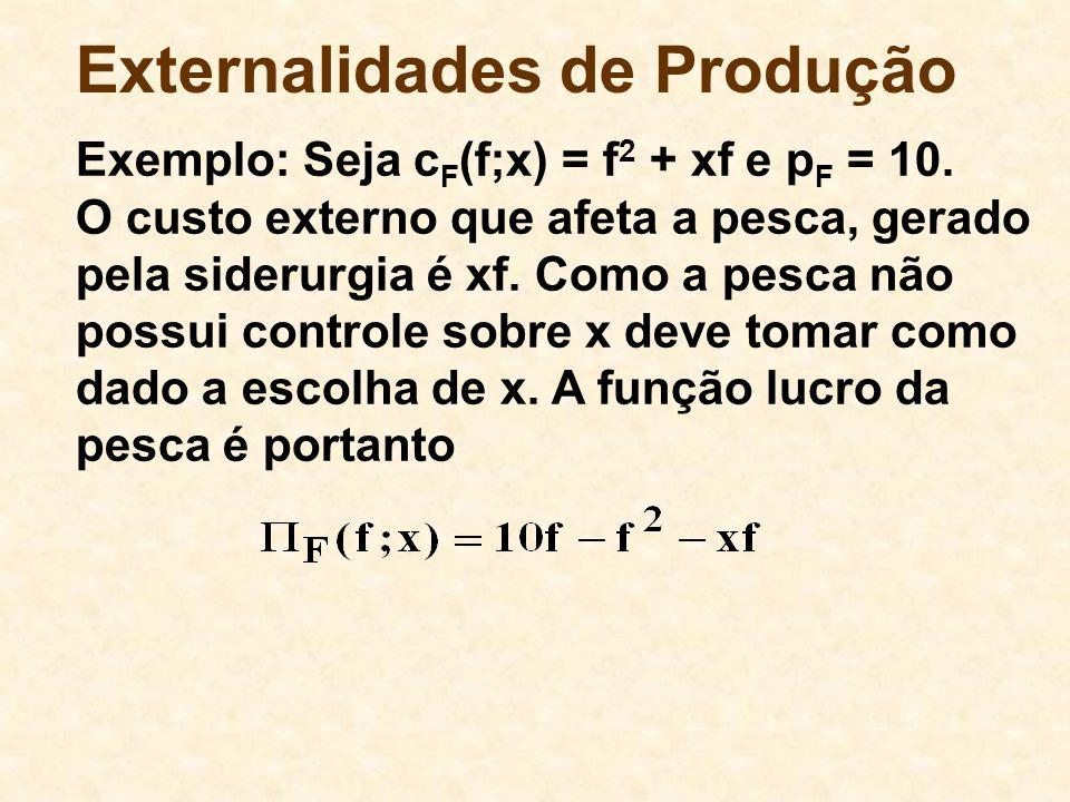 Externalidades de Produção Exemplo: Seja c F (f;x) = f 2 + xf e p F = 10. O custo externo que afeta a pesca, gerado pela siderurgia é xf. Como a pesca