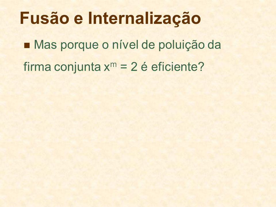 Fusão e Internalização Mas porque o nível de poluição da firma conjunta x m = 2 é eficiente?