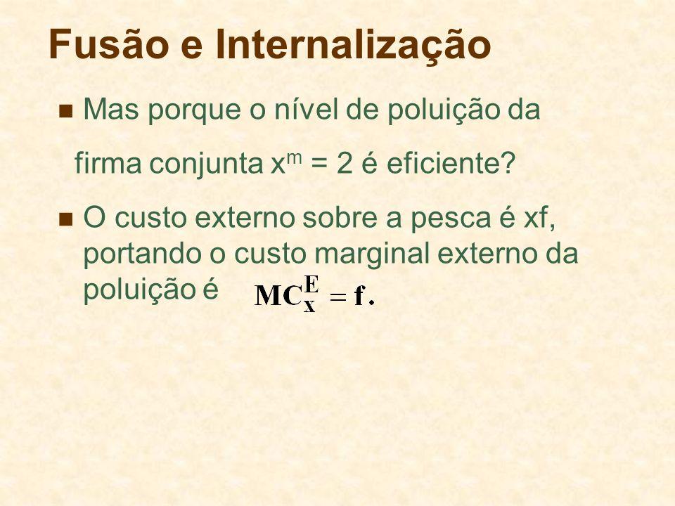 Fusão e Internalização Mas porque o nível de poluição da firma conjunta x m = 2 é eficiente? O custo externo sobre a pesca é xf, portando o custo marg