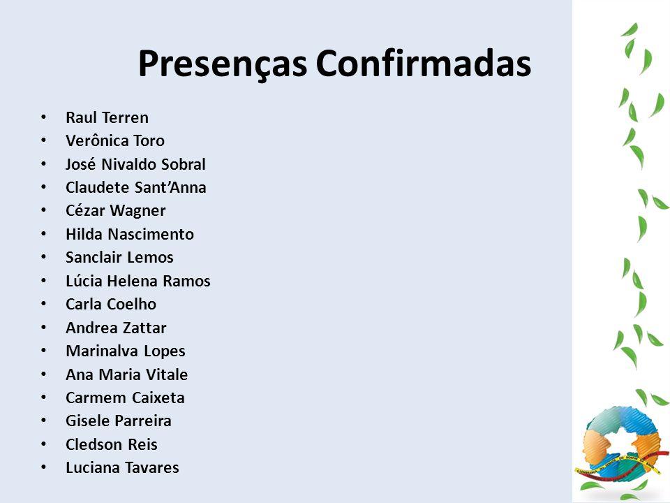 Presenças Confirmadas Raul Terren Verônica Toro José Nivaldo Sobral Claudete SantAnna Cézar Wagner Hilda Nascimento Sanclair Lemos Lúcia Helena Ramos