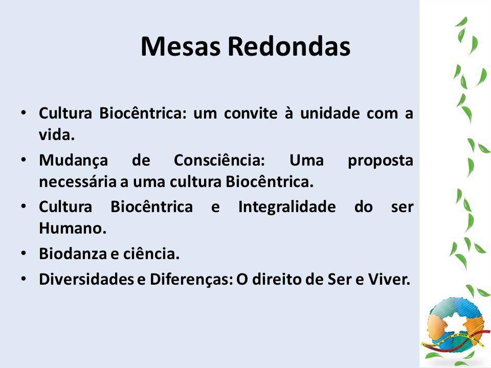 Mesas Redondas Cultura Biocêntrica: um convite à unidade com a vida. Mudança de Consciência: Uma proposta necessária a uma cultura Biocêntrica. Cultur