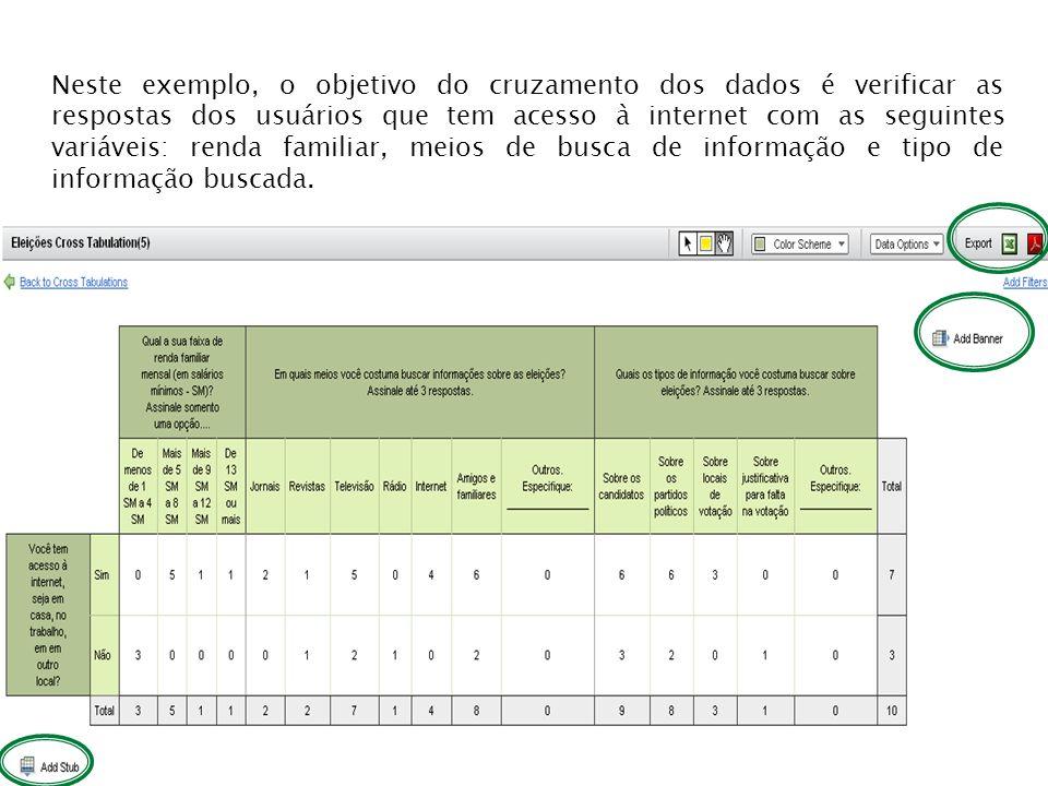 Neste exemplo, o objetivo do cruzamento dos dados é verificar as respostas dos usuários que tem acesso à internet com as seguintes variáveis: renda familiar, meios de busca de informação e tipo de informação buscada.