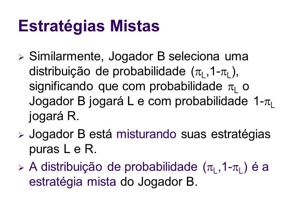 Estratégias Mistas Similarmente, Jogador B seleciona uma distribuição de probabilidade ( L,1- L ), significando que com probabilidade L o Jogador B jo
