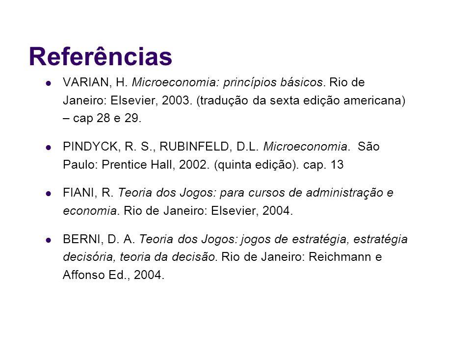 Referências VARIAN, H. Microeconomia: princípios básicos. Rio de Janeiro: Elsevier, 2003. (tradução da sexta edição americana) – cap 28 e 29. PINDYCK,