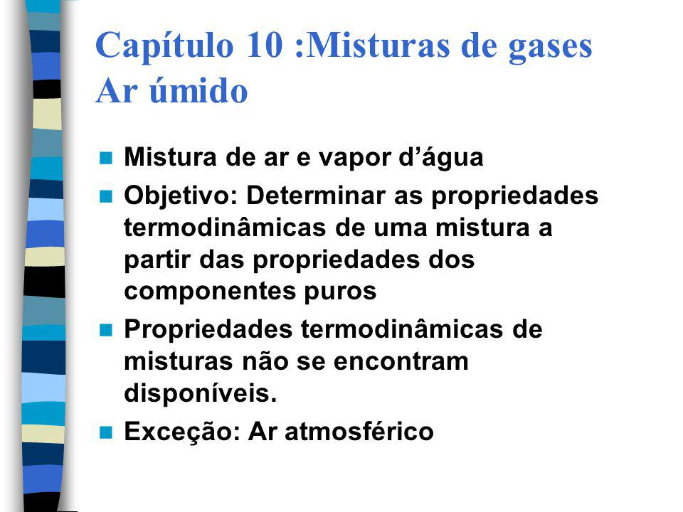 Capítulo 10 :Misturas de gases Ar úmido Mistura de ar e vapor dágua Objetivo: Determinar as propriedades termodinâmicas de uma mistura a partir das pr
