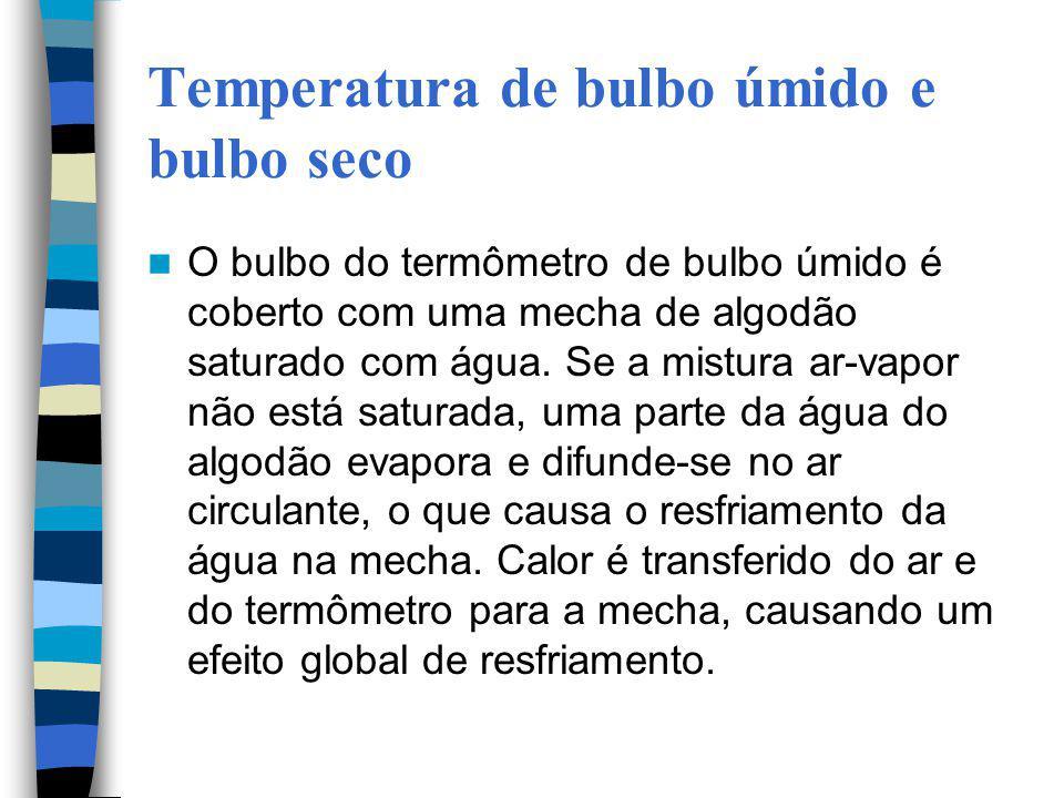 Temperatura de bulbo úmido e bulbo seco O bulbo do termômetro de bulbo úmido é coberto com uma mecha de algodão saturado com água. Se a mistura ar-vap