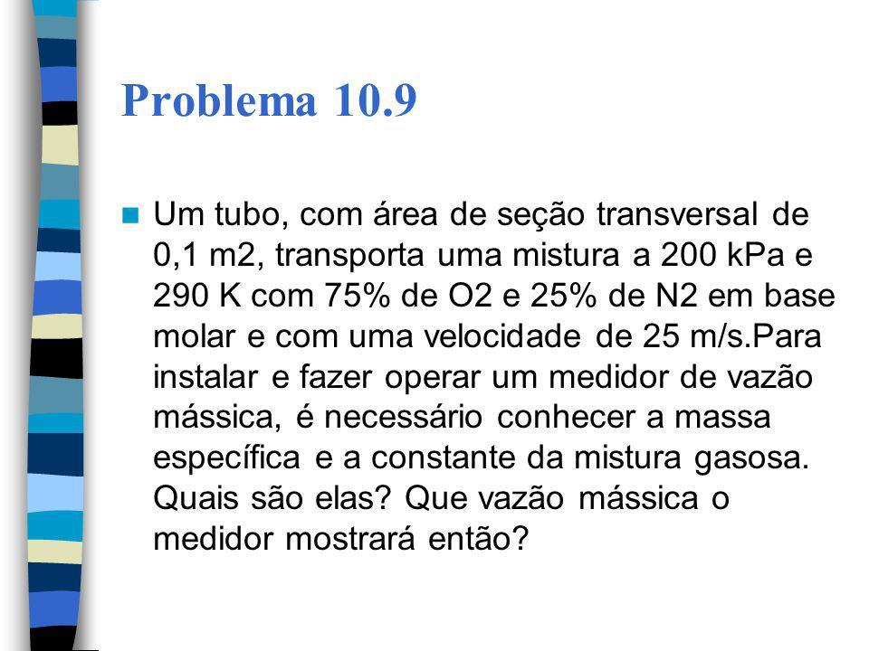 Problema 10.9 Um tubo, com área de seção transversal de 0,1 m2, transporta uma mistura a 200 kPa e 290 K com 75% de O2 e 25% de N2 em base molar e com