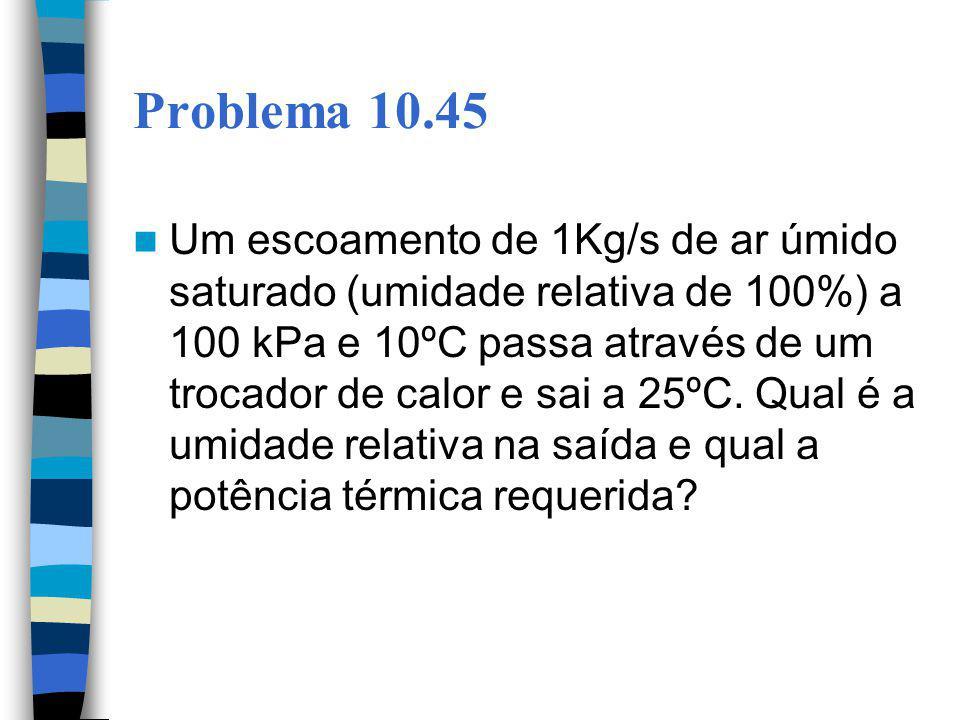 Problema 10.45 Um escoamento de 1Kg/s de ar úmido saturado (umidade relativa de 100%) a 100 kPa e 10ºC passa através de um trocador de calor e sai a 2