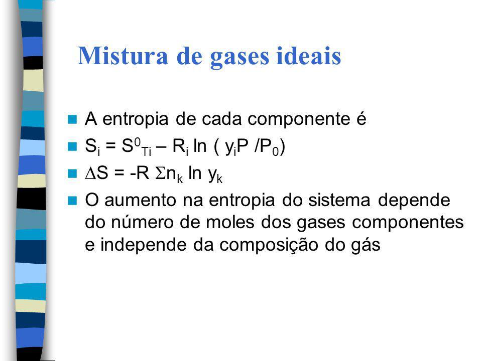 Mistura de gases ideais A entropia de cada componente é S i = S 0 Ti – R i ln ( y i P /P 0 ) S = -R n k ln y k O aumento na entropia do sistema depend
