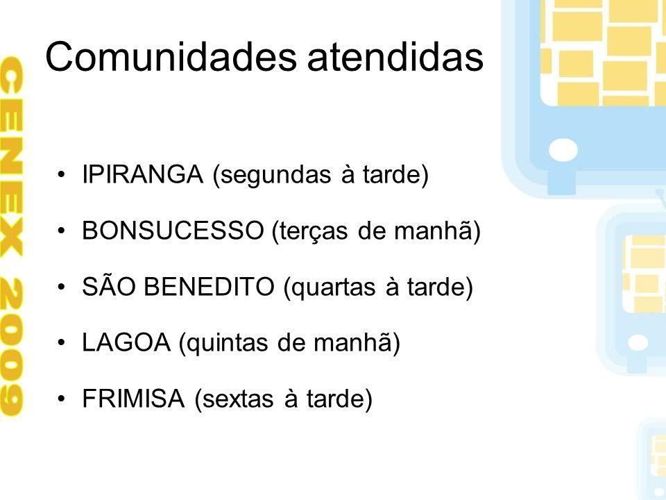 Comunidades atendidas IPIRANGA (segundas à tarde) BONSUCESSO (terças de manhã) SÃO BENEDITO (quartas à tarde) LAGOA (quintas de manhã) FRIMISA (sextas