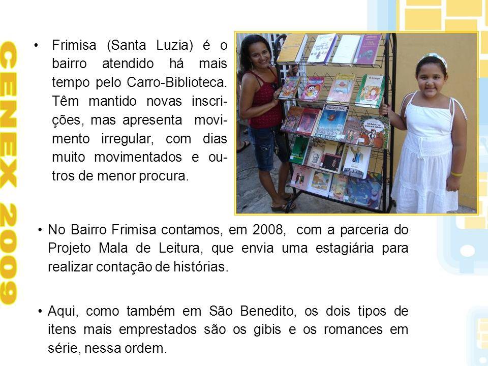 Frimisa (Santa Luzia) é o bairro atendido há mais tempo pelo Carro-Biblioteca. Têm mantido novas inscri- ções, mas apresenta movi- mento irregular, co