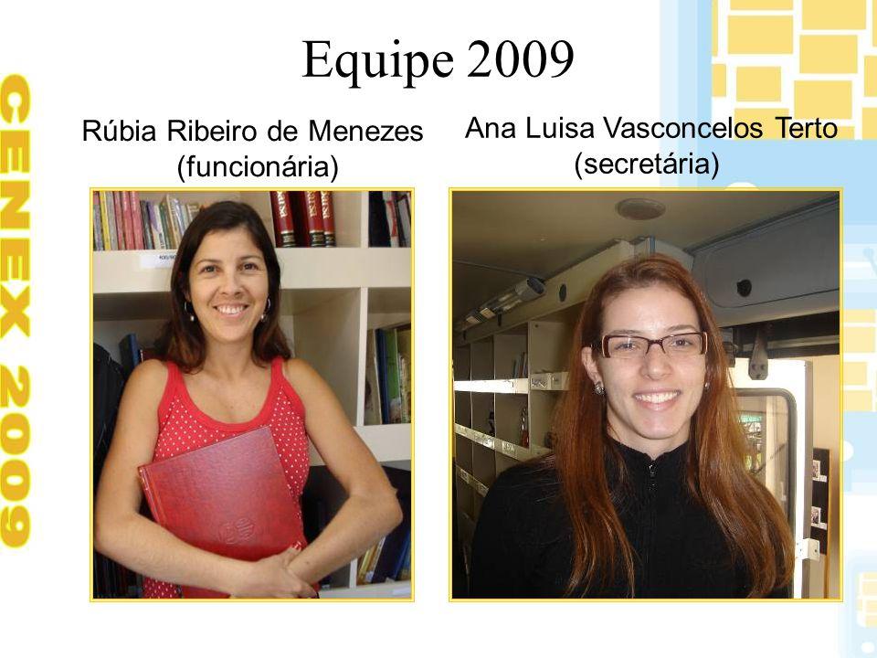 Equipe 2009 Rúbia Ribeiro de Menezes (funcionária) Ana Luisa Vasconcelos Terto (secretária)