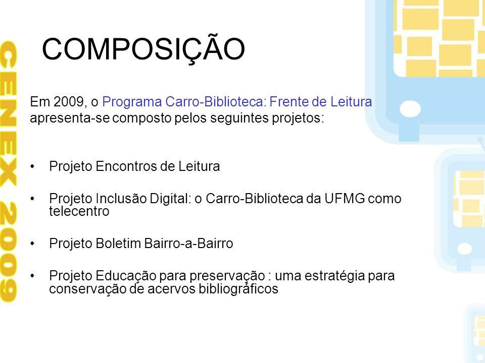 COMPOSIÇÃO Em 2009, o Programa Carro-Biblioteca: Frente de Leitura apresenta-se composto pelos seguintes projetos: Projeto Encontros de Leitura Projet
