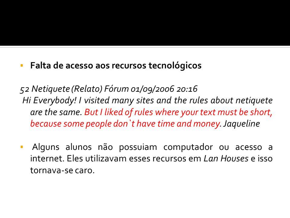 Falta de letramento digital 54 Diário de bordo (15/12/2006 10:08) Anotação aluno: I thought a few difficult this task because I do not known put the card in the webmail.
