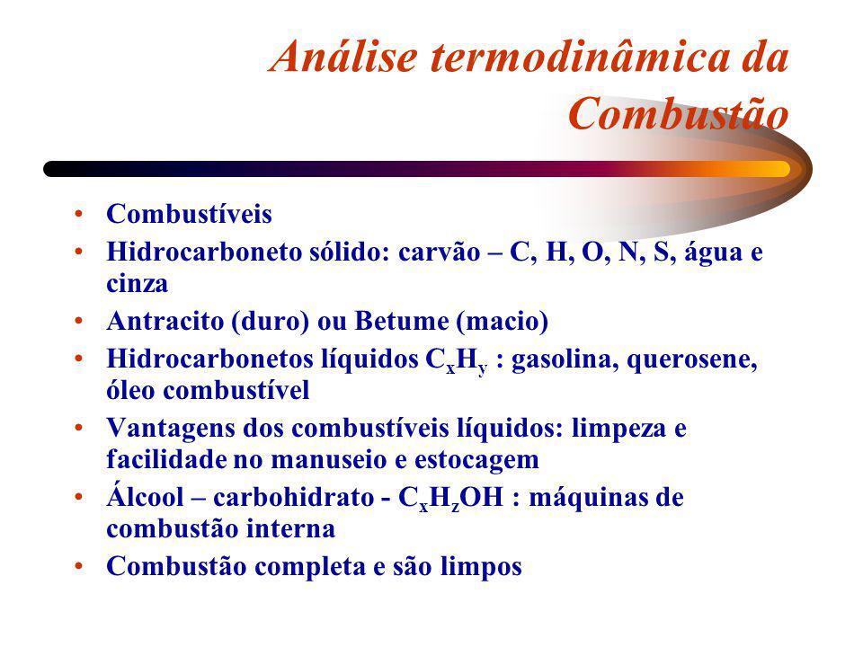Análise termodinâmica da Combustão Combustíveis Hidrocarboneto sólido: carvão – C, H, O, N, S, água e cinza Antracito (duro) ou Betume (macio) Hidroca