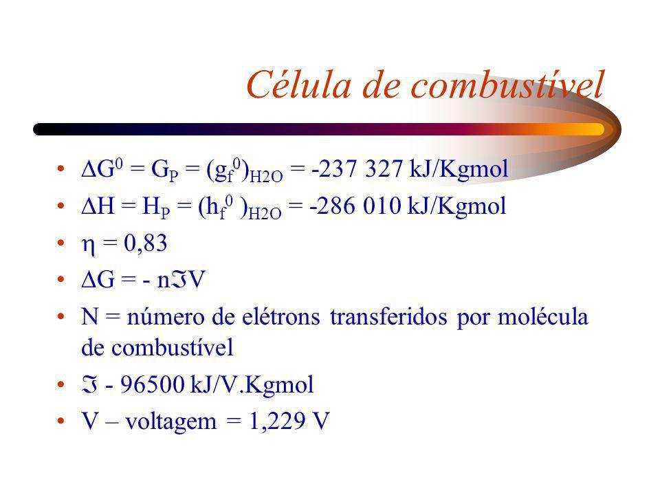 G 0 = G P = (g f 0 ) H2O = -237 327 kJ/Kgmol H = H P = (h f 0 ) H2O = -286 010 kJ/Kgmol = 0,83 G = - n V N = número de elétrons transferidos por moléc