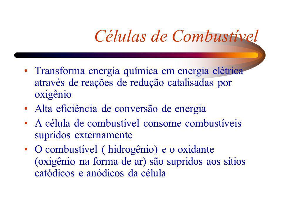 Células de Combustível Transforma energia química em energia elétrica através de reações de redução catalisadas por oxigênio Alta eficiência de conver