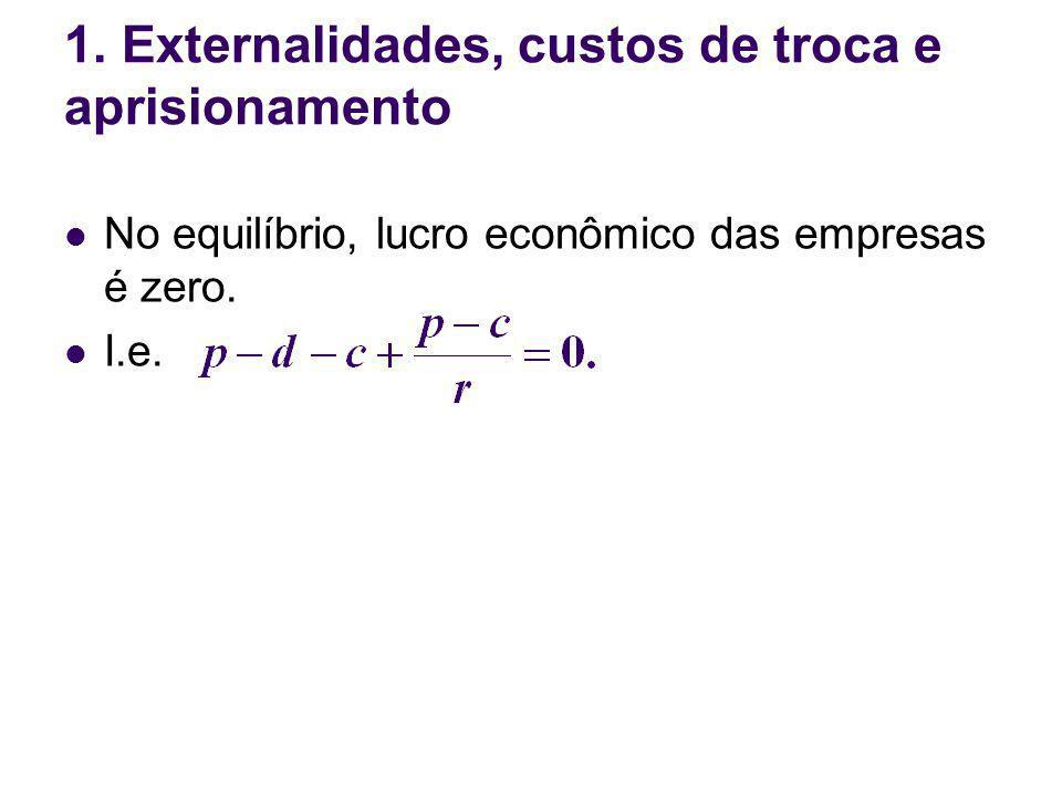 No equilíbrio, lucro econômico das empresas é zero. I.e. 1. Externalidades, custos de troca e aprisionamento