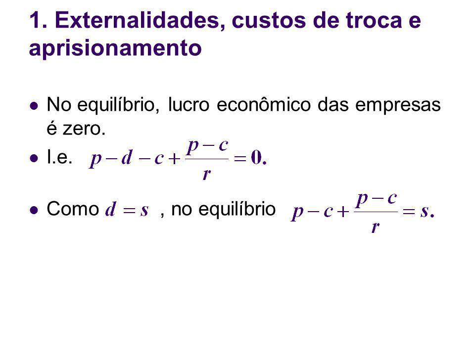 No equilíbrio, lucro econômico das empresas é zero. I.e. Como, no equilíbrio 1. Externalidades, custos de troca e aprisionamento