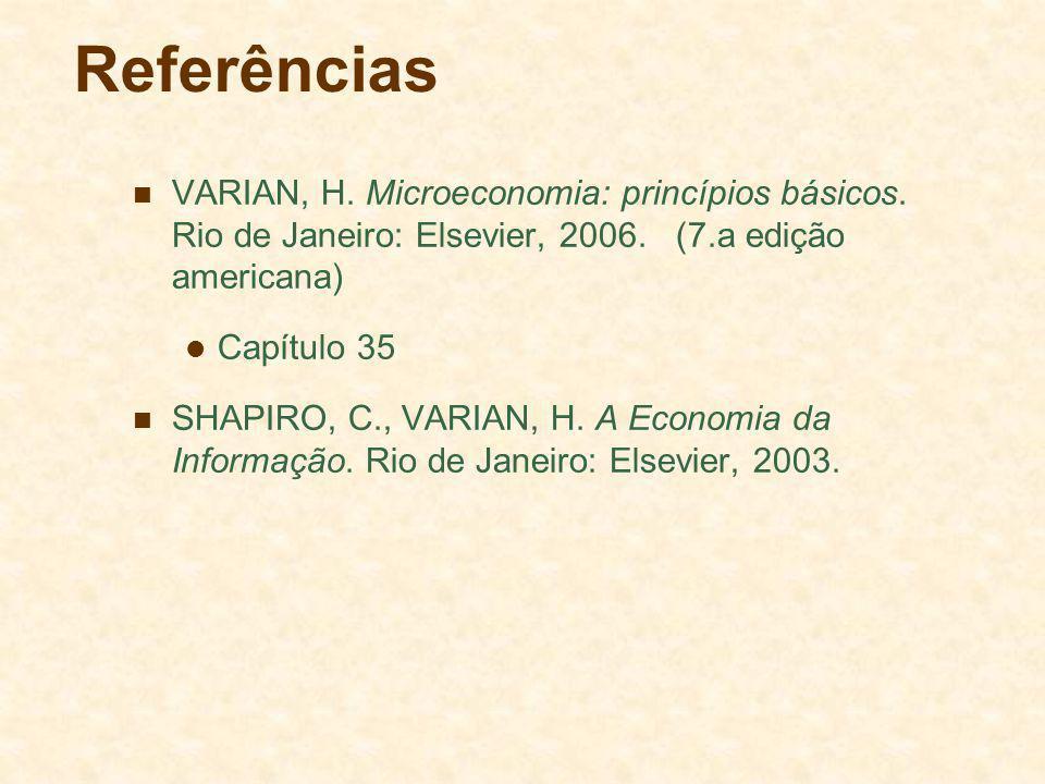 Referências VARIAN, H. Microeconomia: princípios básicos. Rio de Janeiro: Elsevier, 2006. (7.a edição americana) Capítulo 35 SHAPIRO, C., VARIAN, H. A