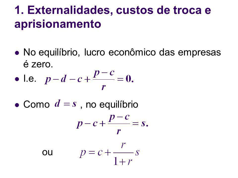 No equilíbrio, lucro econômico das empresas é zero. I.e. Como, no equilíbrio 1. Externalidades, custos de troca e aprisionamento ou