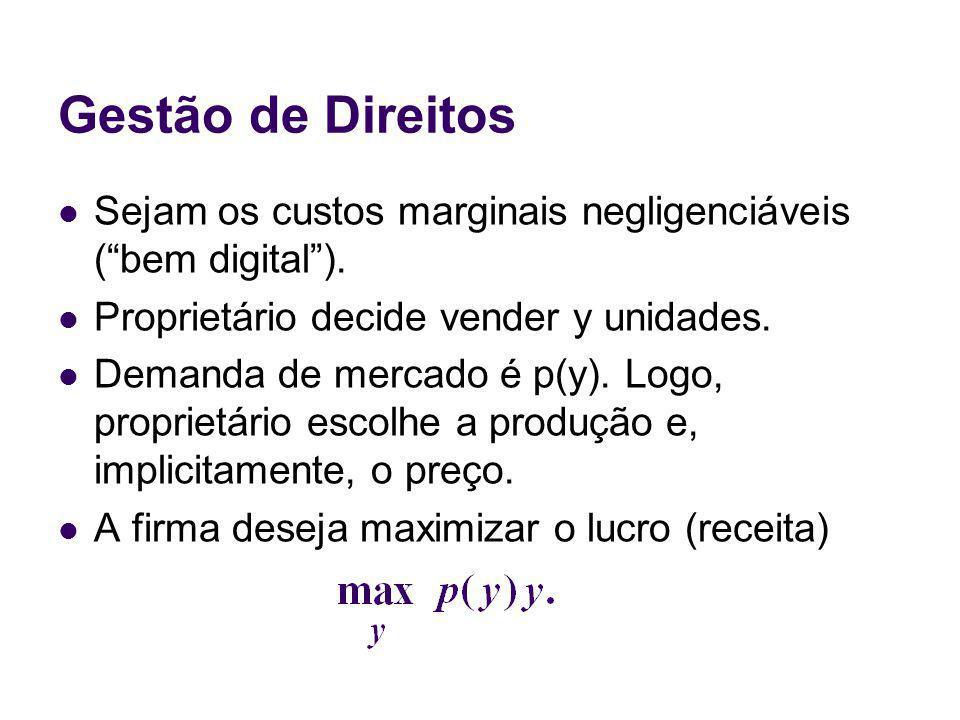 Gestão de Direitos Sejam os custos marginais negligenciáveis (bem digital). Proprietário decide vender y unidades. Demanda de mercado é p(y). Logo, pr