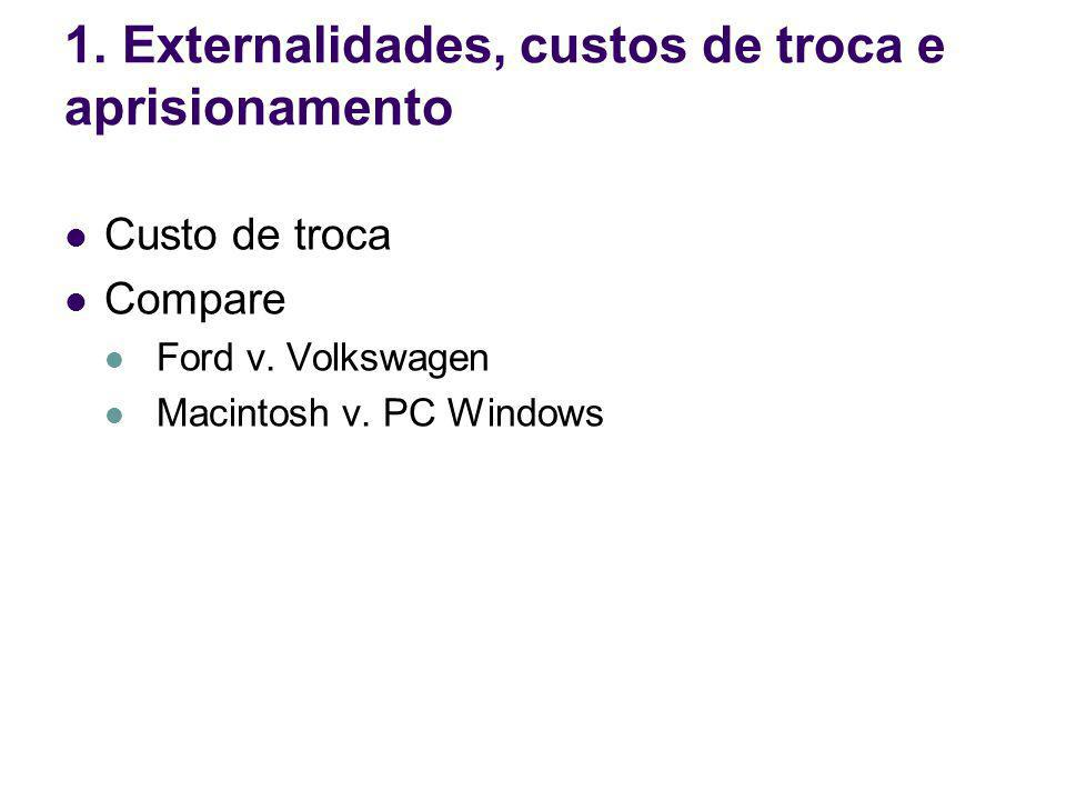 Custo de troca Compare Ford v. Volkswagen Macintosh v. PC Windows 1. Externalidades, custos de troca e aprisionamento
