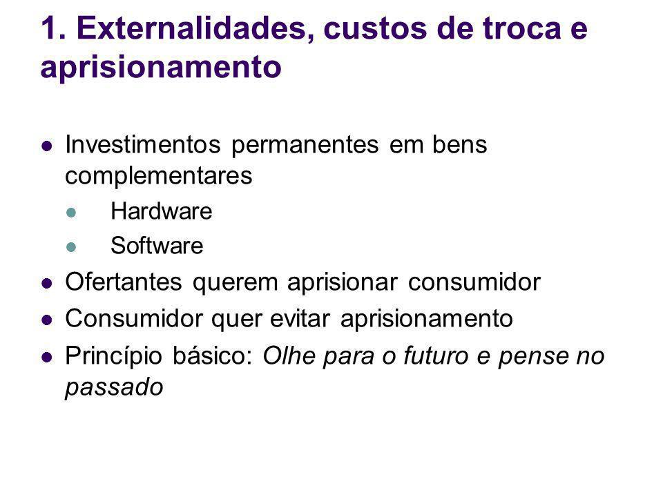 Investimentos permanentes em bens complementares Hardware Software Ofertantes querem aprisionar consumidor Consumidor quer evitar aprisionamento Princ
