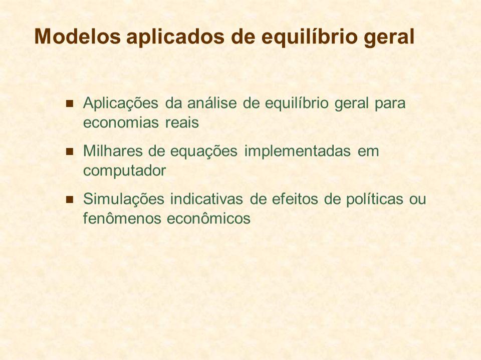 Modelos aplicados de equilíbrio geral Aplicações da análise de equilíbrio geral para economias reais Milhares de equações implementadas em computador