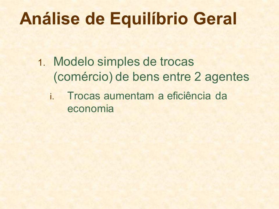 Análise de Equilíbrio Geral 1. Modelo simples de trocas (comércio) de bens entre 2 agentes i. Trocas aumentam a eficiência da economia